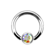 Ball Closure Ring silber und Kristall multicolor
