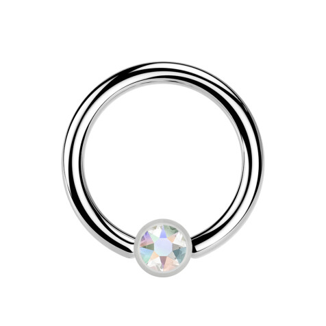 Ball Closure Ring silber und Kristall multicolor