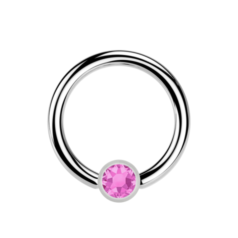 Micro Ball Closure Ring silber und Kristall pink