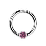 Micro Ball Closure Ring silber und Kristall pink