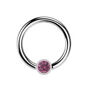 Ball Closure Ring silber und Kristall pink