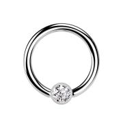 Ball Closure Ring silber und Kristall silber