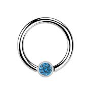 Ball Closure Ring silber und Kristall hellblau