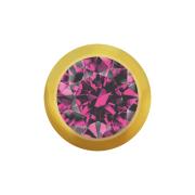 Micro Kugel vergoldet mit Kristall pink