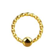 Micro Ball Closure Ring geflochten vergoldet
