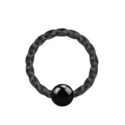 Micro Ball Closure Ring geflochten schwarz