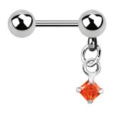 Micro Barbell silber mit Kugel und Anhänger Quadrat Kristall orange