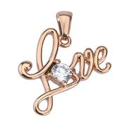 Anhänger rosegold Love mit Kristall