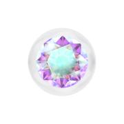 Kugel transparent mit Kristall multicolor