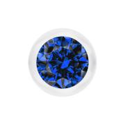 Kugel transparent mit Kristall dunkelblau