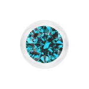 Kugel transparent mit Kristall aqua