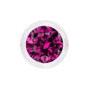Kugel transparent mit Kristall fuchsia