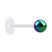 Micro Labret transparent mit Kugel farbig