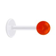 Micro Labret transparent mit Kugel rot transparent