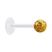 Micro Labret transparent mit Kristallkugel topaz und...