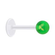 Micro Labret transparent mit Kugel beschichtet grün