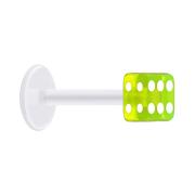 Micro Labret transparent mit Würfel grün transparent