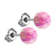 Ohrstecker mit Kugel Opal pink