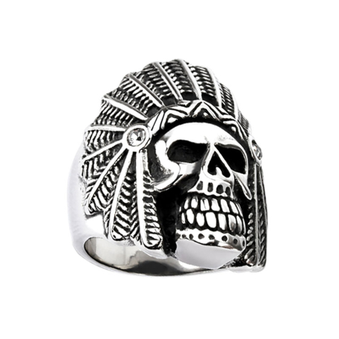 Ring silber Apache Totenkopf mit Kristall silber
