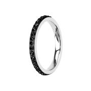 Ring silber mit Kristallband schwarz