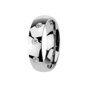 Ring silber mit drei Kristallen