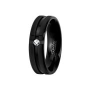 Ring schwarz gerillt mit Kristall