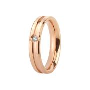 Ring rosegold gerillt mit Kristall