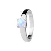 Ring silber mit Opal weiss