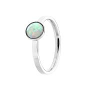 Ring silber mit flachem Opal weiss