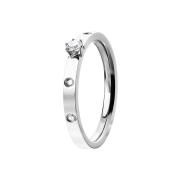 Ring silber mit vier Kristallen und einem grossen