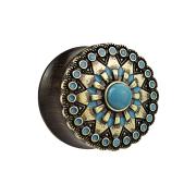 Flared Plug aus Ebenholz mit Tribal Sonne und türkis Stein