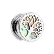 Flesh Plug Baum des Lebens mit Abalone