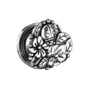 Flesh Plug Herz mit Blumen und Marienkäfer