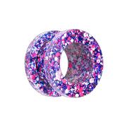 Flesh Tunnel violett mit farbspritzer