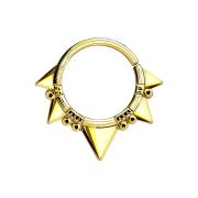 Septum Ring fünf dreiecke 14k vergoldet