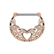 Septum Ring filigran mit Herz rosegold