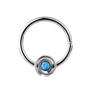 Septum Ring spirale mit Opal blau