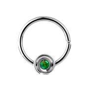 Septum Ring spirale mit Opal grün