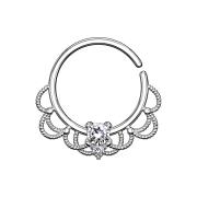 Septum Ring silber filigran mit Kristall silber