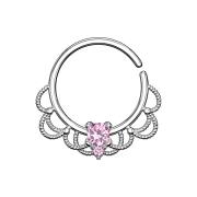 Septum Ring silber filigran mit Kristall pink