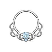Septum Ring silber filigran mit Kristall aqua