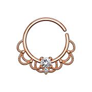 Septum Ring rosegold filigran mit Kristall silber