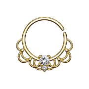 Septum Ring 18k vergoldet filigran mit Kristall silber