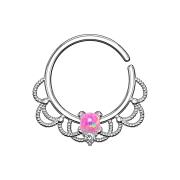 Septum Ring silber filigran mit Opal pink