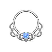 Septum Ring silber filigran mit Opal blau