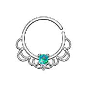 Septum Ring silber filigran mit Opal grün