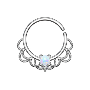 Septum Ring silber filigran mit Opal weiss