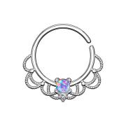Septum Ring silber filigran mit Opal violett