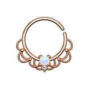 Septum Ring rosegold filigran mit Opal weiss