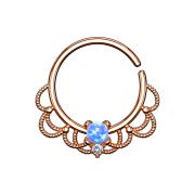 Septum Ring rosegold filigran mit Opal blau